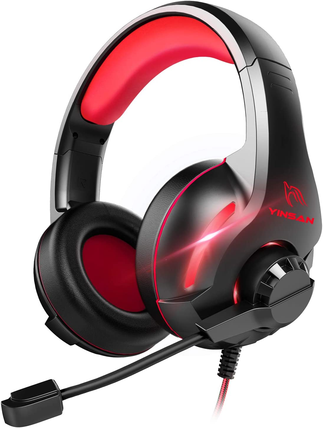 Cascos Auriculares, YINSAN Auriculares Gaming Estéreo da 3,5 mm Jack con Micrófono Flexible y Luz LED RGB, Cascos Gaming Profesionales para PS4 Xbox One Nintendo Switch PC Playstation 4