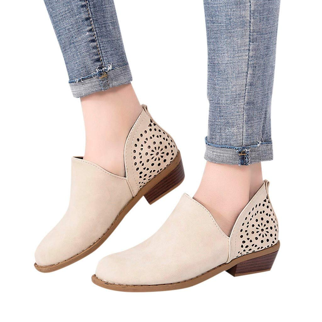 Hemlock Women Spring Work Shoes Breathable Hollow Boots Round Toe Shoes Square Heels Slip-On Casual Single Shoes Beige