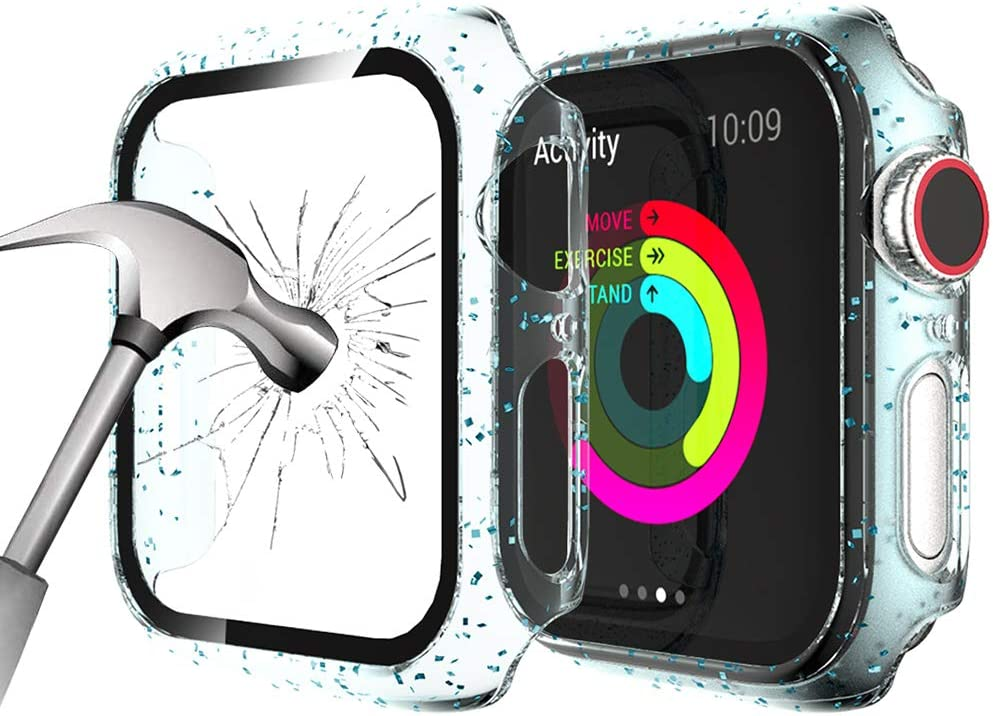 KSOM Glitter Case Compatible with Apple Watch Series SE/6/5/4 44MM, Translucent PC Bumper with Ultra HD Tempered Glass Screen Anti-Scratch Bubble Free Full Protective Cover for iWatch Series SE/6/5/4