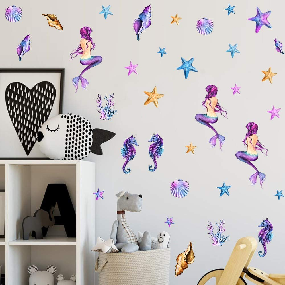 Turtle Starfish Seaweed Ocean Theme Decoration,Nursery Girl Bedroom Bathroom Decoration IARTTOP Mermaid Wall Decal