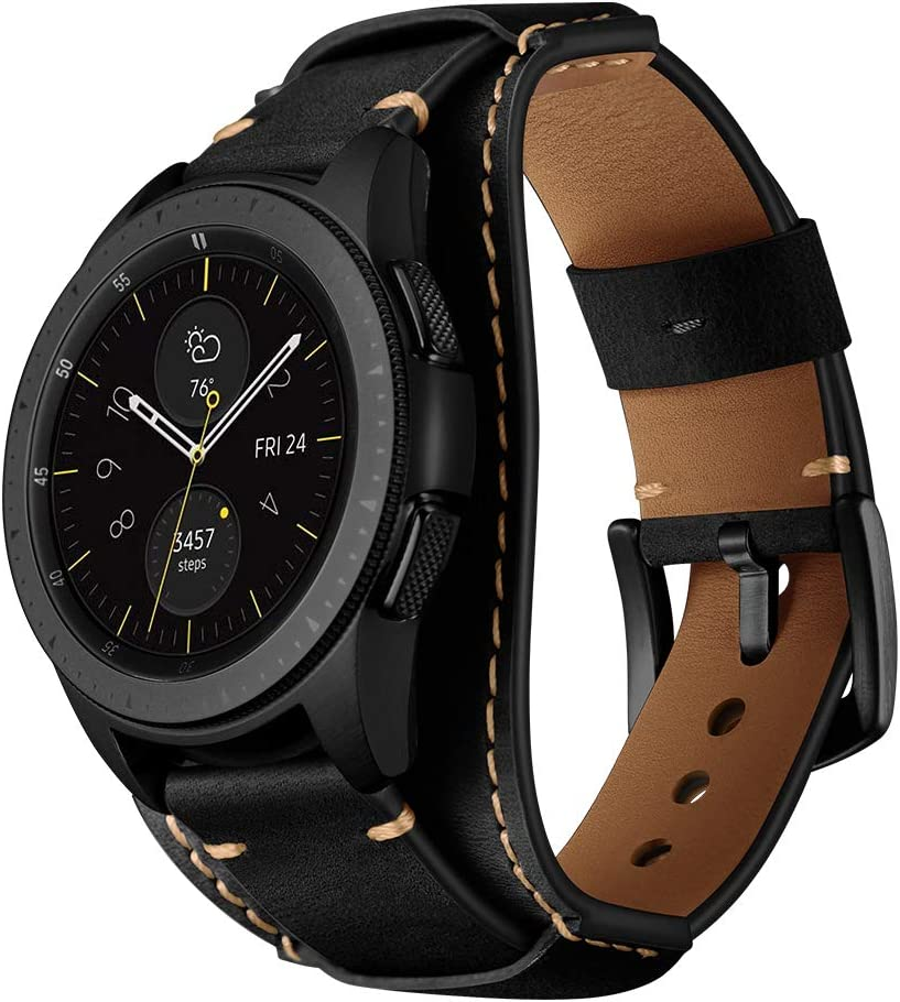 Balerion Cuff Genuine Leather Watch Band,Compatible with Samsung Galaxy watch3 41mm,Galaxy Watch 42mm,Gear Sport,Fossil Q Control and Other Standard 20mm Band Width Watch