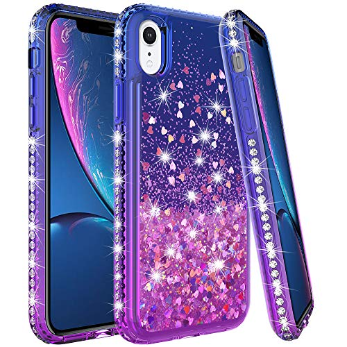 LK Case for iPhone XR, [Gradient Quicksand Series] Glitter Floating Flowing Sparkle Flexible TPU Bling Diamond Clear Protective Case for Apple iPhone XR - Purple