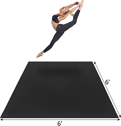 Amazon Com Gxmmat Large Yoga Mat 6 X6 X7mm Thick Workout Mats For Home Gym Flooring Extra Wide And Thick Non Slip Quick Resilient Barefoot Exercise Mat Ultra Comfortable Cardio Mat For Pilates Stretching