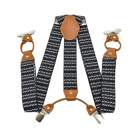 bfa376eb212 SupSuspen Men's Y Back Black White Suspenders Heavy Duty Braces & 6 ...