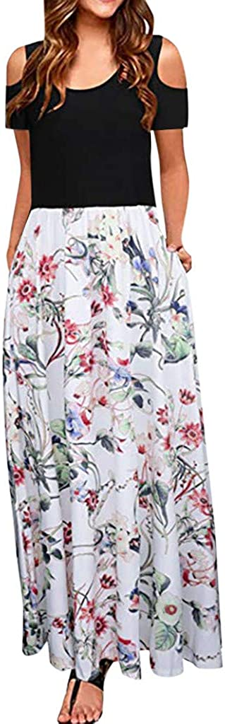 CSSD Womens Short Sleeve Long Beach Dress Summer Casual Retro Print Tunic Skirt Round Neck Slim Princess Dresses