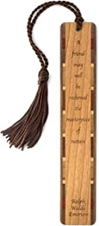 product image for Personalized Ralph Waldo Emerson Quote About Friendship, Engraved Wooden Bookmark with Tassel - Search B071744N7T for Non Personalized Version