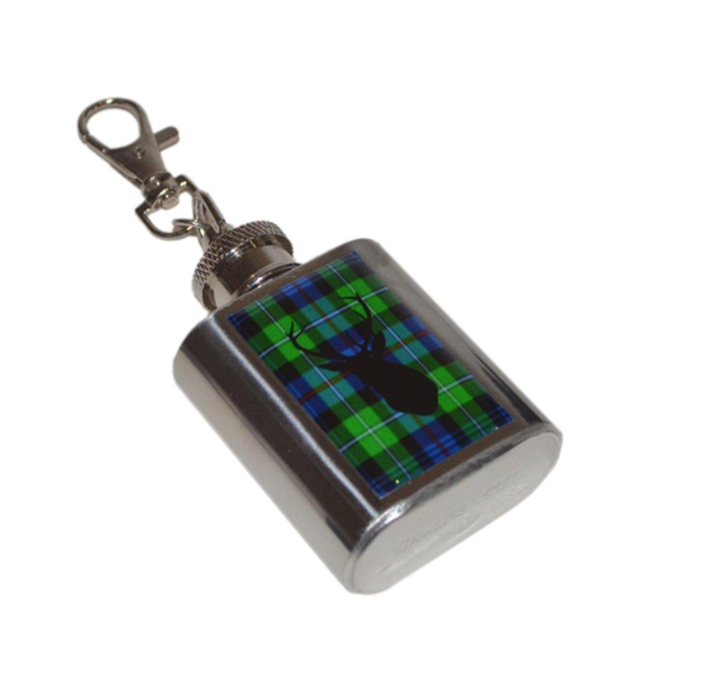 Scottish Mackenzie Tartan /& Stag Design 1oz Hip Flask Key Ring XHIPKEYN009