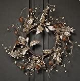 Christmas 10-12'' Candle Ring or Mini-Wreath with Leaves, Pinecones, and Buyers' Choice of Red Berry or White Berry (1, 12 inches)