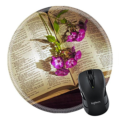 MSD Natural Rubber Mousepad Round Mouse Pad/Mat: 3443207 Open Bible on wooden desk with phlox stems and lamp base