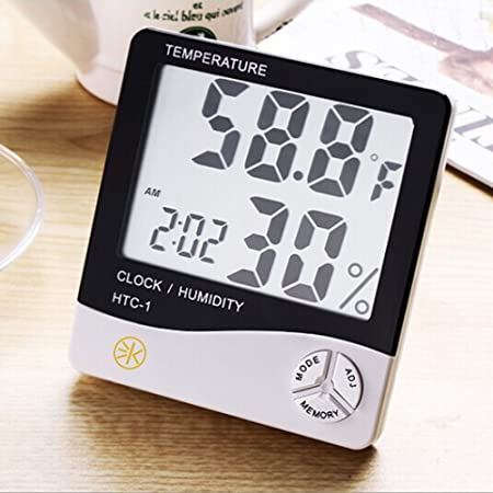 3Keys Portable Digital Temperature and Humidity Tester Meter with Alarm Function LCD Display Indoor Clock Hygrometer Thermometer Monitor with C/F Units Conversion
