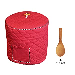 Instant Pot Cover with Wooden Ladle Pocket Pressure Cooker Cover for 6 Quart Instant Pot Dust Proof Covers for Appliances Decorative Appliance Covers with Pocket - Red