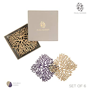 Mijal Gleiser Double Sided Coasters Laser Cut Heat Resistant Non Slip Stain Resistant Set of 6 (Synapse Collection Gold-Purple)