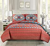 Western Southwestern Native American Tribal Navajo Design Multicolor Turquoise red Orange Brown Bedspread Quilt Set (Queen 3 Pieces)