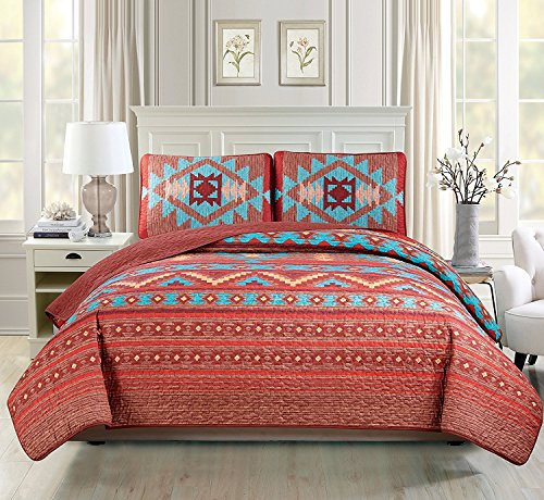 Western Southwestern Native American Tribal Navajo Design 3 Piece Multicolor Turquoise red Orange Brown Oversize Queen / Full Size Bedspread Quilt Coverlet Set (Queen) (Red Bedding Turquoise)