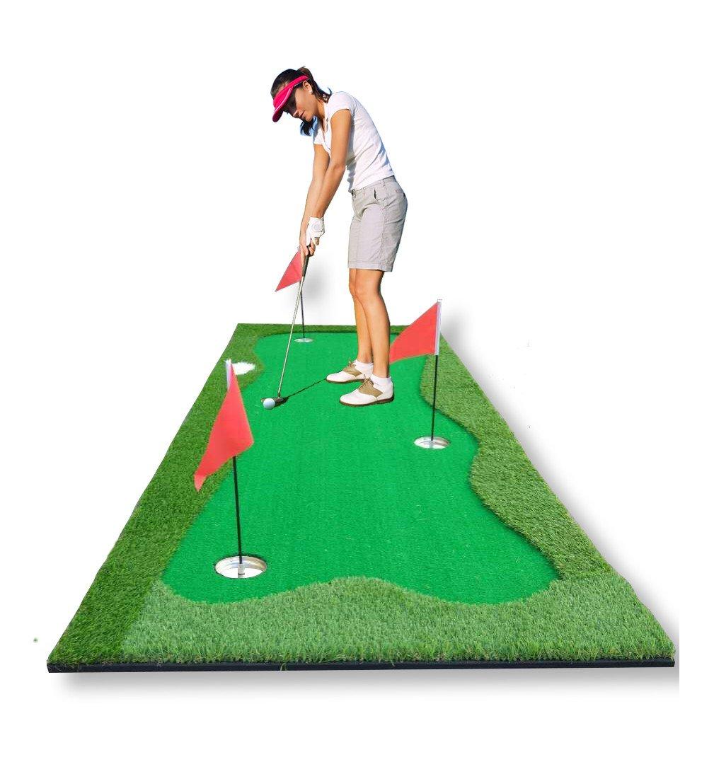 77tech Large Artificial Grass Golf Putting Green Mat Indoor/Outdoor Golf Training Equipment Mat (3.3ft x10ft Green)