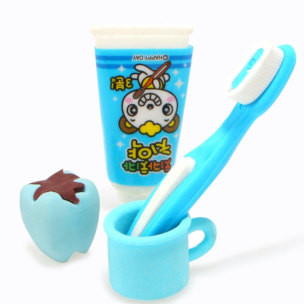 4pcs/set Kawaii Lovely pasta de dientes Borradores para la escuela Niños Regalo extraíble dientes borrador de goma: Amazon.es: Oficina y papelería