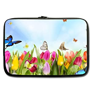 INSTALL AND EASY TO CARRY Wear& Slim &Dapper Butterfly Wallpapers Custom Neoprene Sleeve for Laptop 15 Inches(Twin sides)