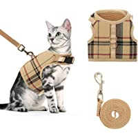 BINGPET Cat Harness and Leash for Walking Adjustable Escape Proof Harness Soft Vest Harnesses for Medium Cats