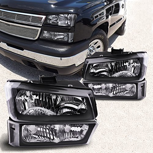 Headlight Assembly kit for 03 04 05 06 Chevy Avalanche / 03-07 Chevrolet Silverado 1500HD / 03-06 Chevrolet Silverado 2500HD Headlamp,Black Housing with Tinted Signal Driving Light,2 Year Warranty