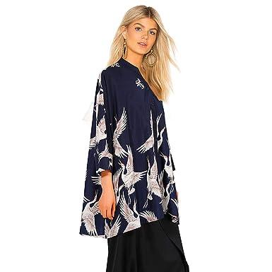 Mv Women Clothing Women Blue Black Birds Printed Batwing Sleeve Plus