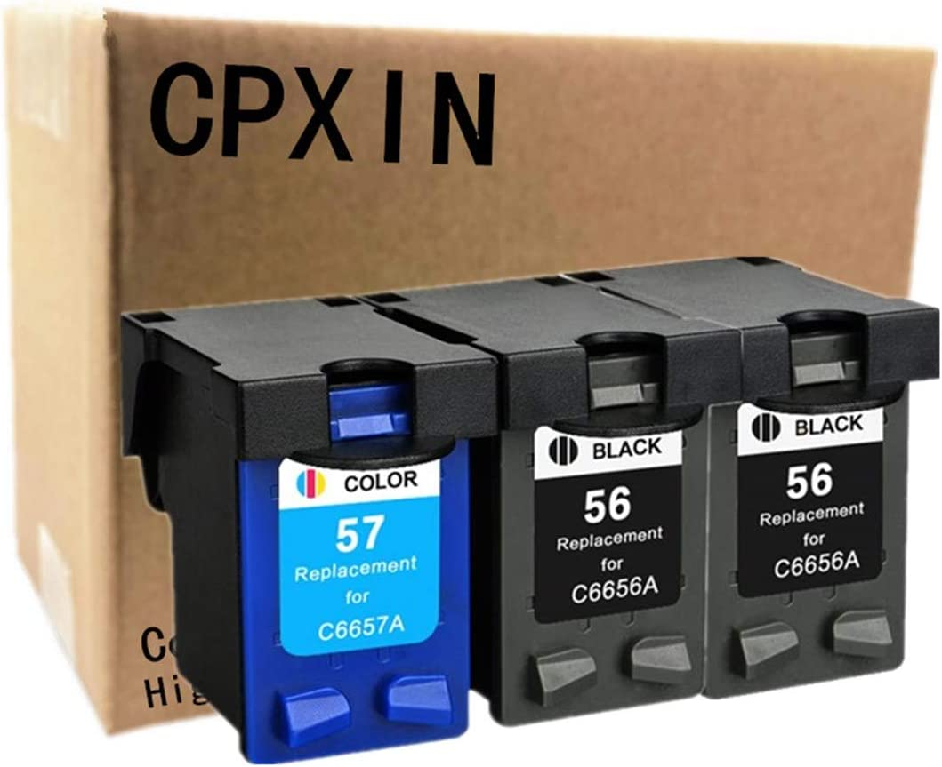 No-name Remanufactured C6656A C6657A Ink Cartridges Replacement for HP 56 57 XL HP56 HP57 Photosmart PSC2410v PSC2420 PSC2510 PSC2510xi Officejet 5550 5552 5652 5655 5850 5505 (1 Set + 1 Color)