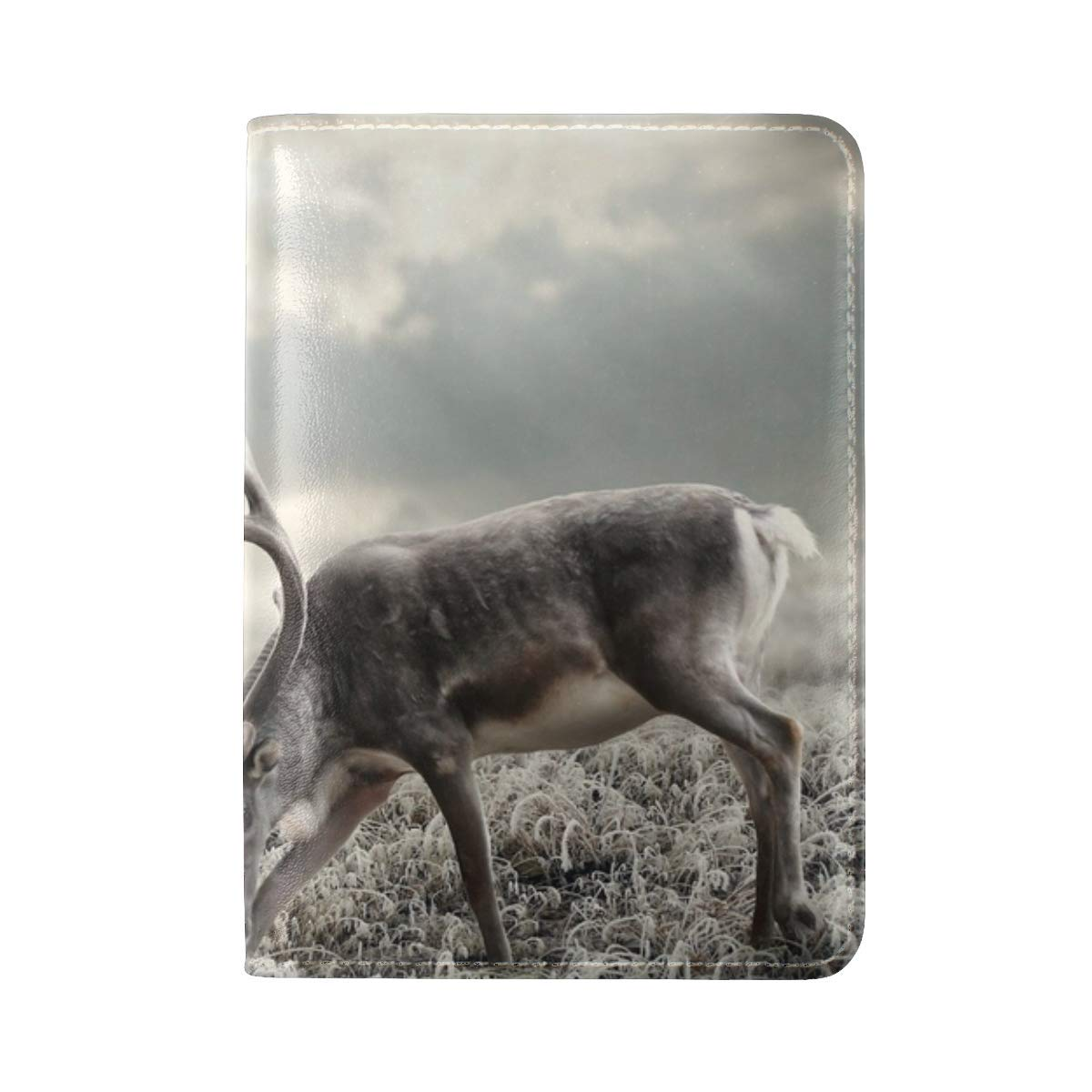 Deer Nature Walking Black And White Leather Passport Holder Cover Case Travel One Pocket
