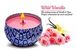 Strongly Scented Candle Vanilla Rose Natural Soy