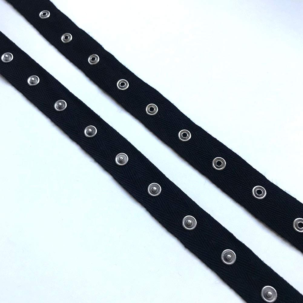 Black, White SNAP Button Tape Trim(3YD, 5YD /Pack) (Black, 3YD) by Over Kleshas