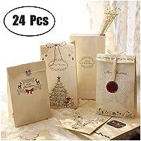 Lot De 24 sacs-cadeaux de Noël Papier kraft Pochette Noël Cadeau Sac Noël 12 x 6 x 22 cm Mariage Anniversaire Fete