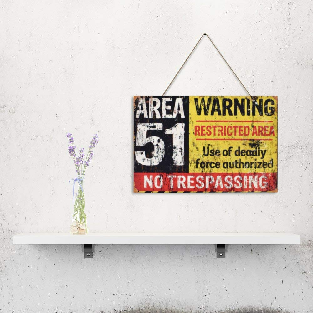 Mr.sign Area 51 Warning Cartel de Madera Advertencia Placa ...