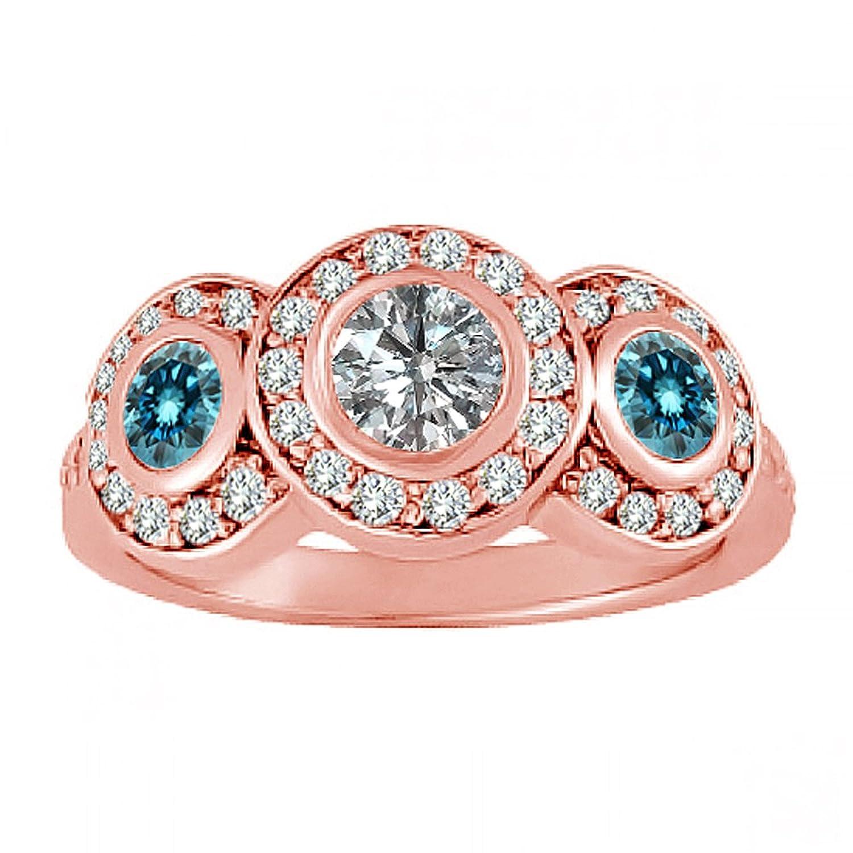 Amazon.com: 1.00 Carat G-H And Blue Diamond Fancy Halo Three 3 Stone ...