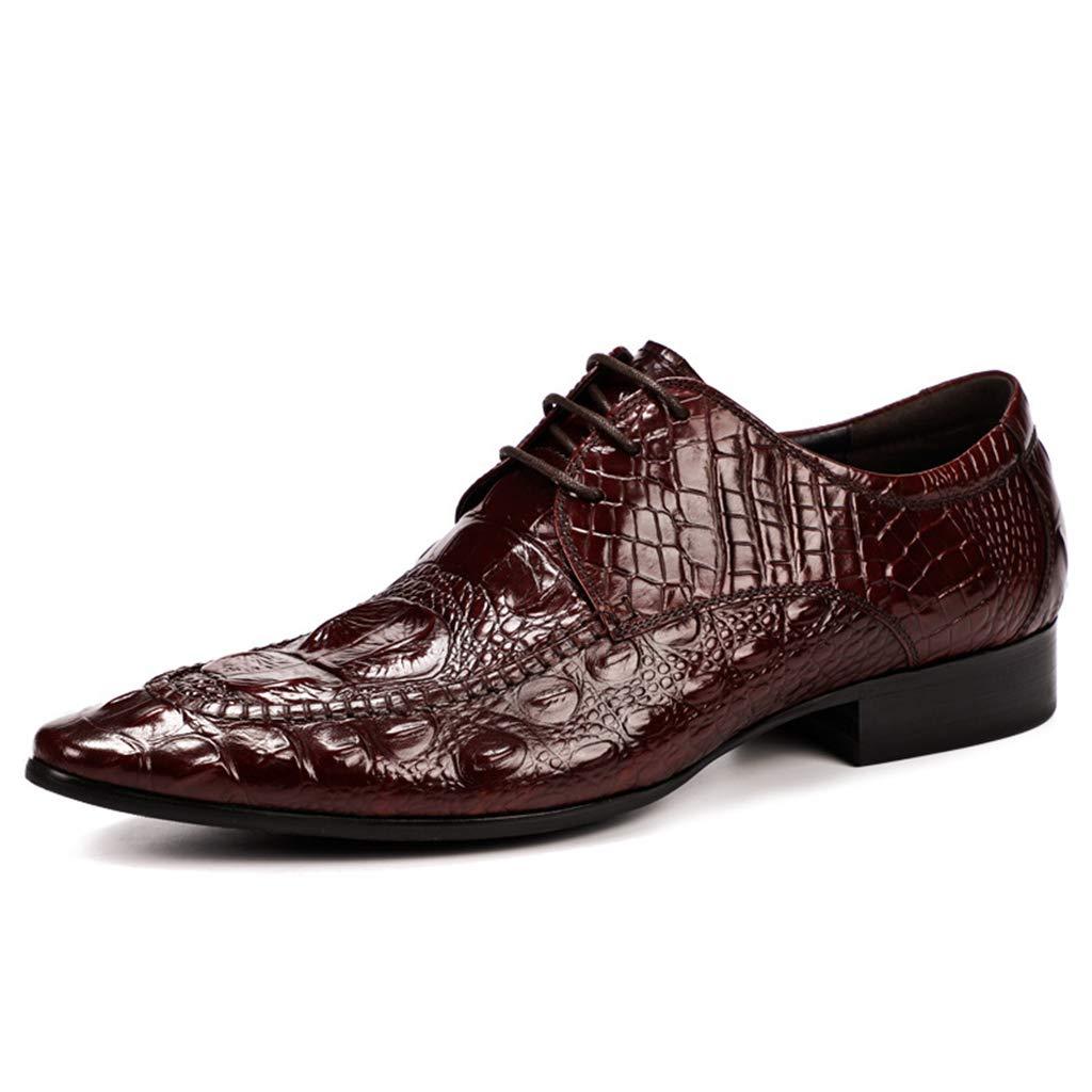 rouge Wine BNMZX Chaussures pour Hommes en Cuir Britanniques à Lacets