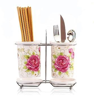 Geek casa chino cerámica y porcelana rosas Hollow Out palillos palillos tubo prismáticos Moul prueba gota caja: Amazon.es: Hogar