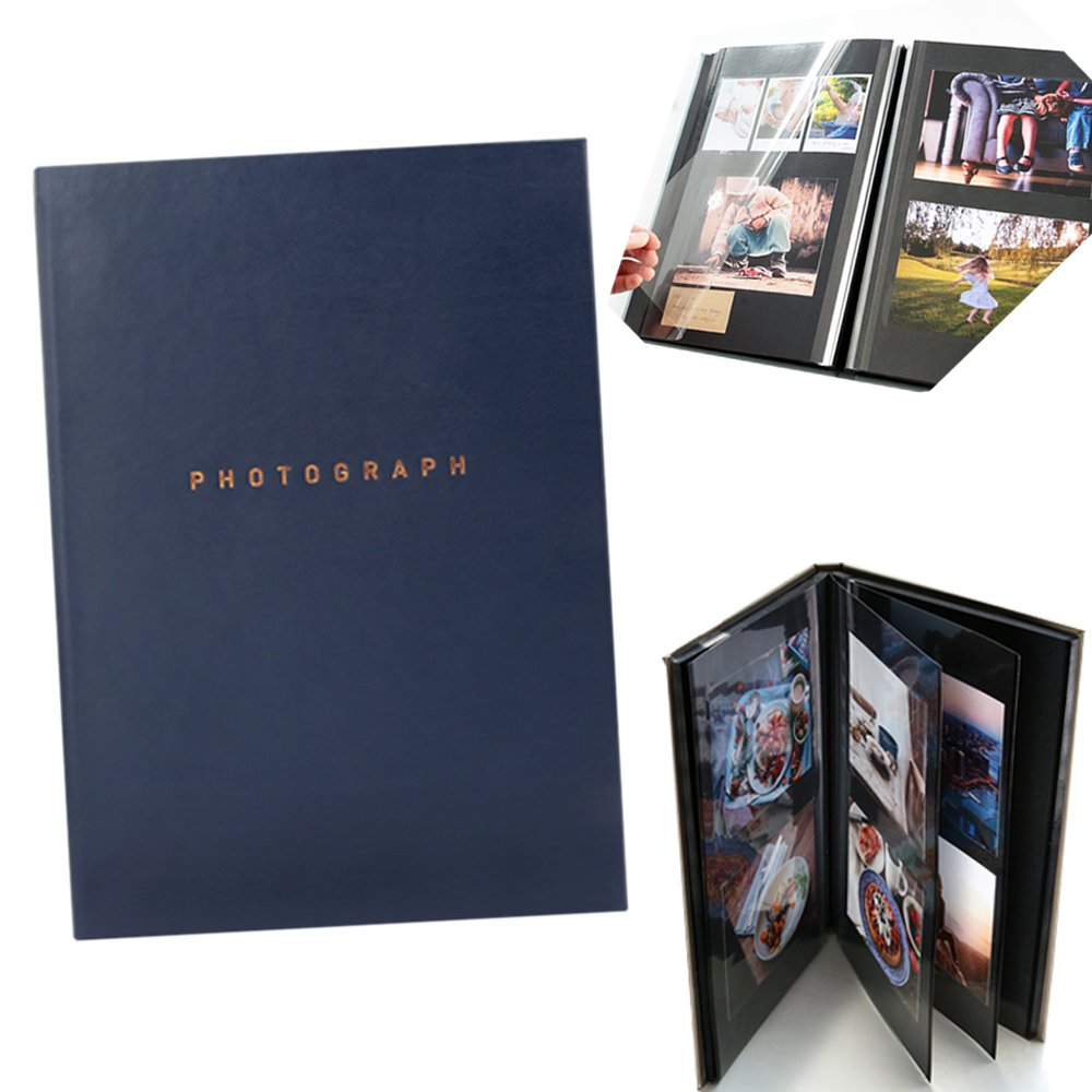 Self adhesive Collage Magnetic Photo Album Scrapbook 40 Pages (Navy)