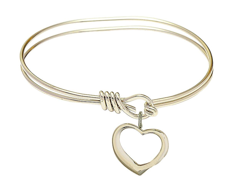 F A Dumont 5 3//4 inch Oval Eye Hook Bangle Bracelet with a Heart Charm.