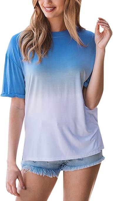 VEMOW Camiseta Verano 2019 Mujer Casual Elegantes Grandes Sólido Manga Corta O-Cuello Gradual Tops T-Shirt Camisas Mujer Casual Fiesta Blusas: Amazon.es: Ropa y accesorios