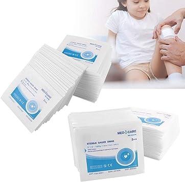 Almohadilla de gasa 100% algodón, envolver la herida Almohadillas no adherentes Almohadilla de aderezo impermeable para primeros auxilios (7.6 * 7.6cm): Amazon.es: Belleza