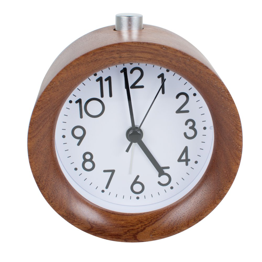 ixaer Silent wooden Alarm Clock, Round Low-carbon Wood Alarm Clock Nightlight with Larger Number Display Battery Operated Little Desk Alarm Clock for Bedroom Healthy Gift for Kids Parents