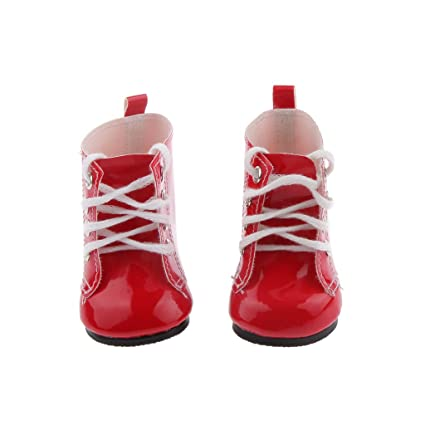 Botas Zapatos Fashion Princesa Encaje PU Martin para Muñecas Chicas Americanas 18 Pulgadas - Rojo