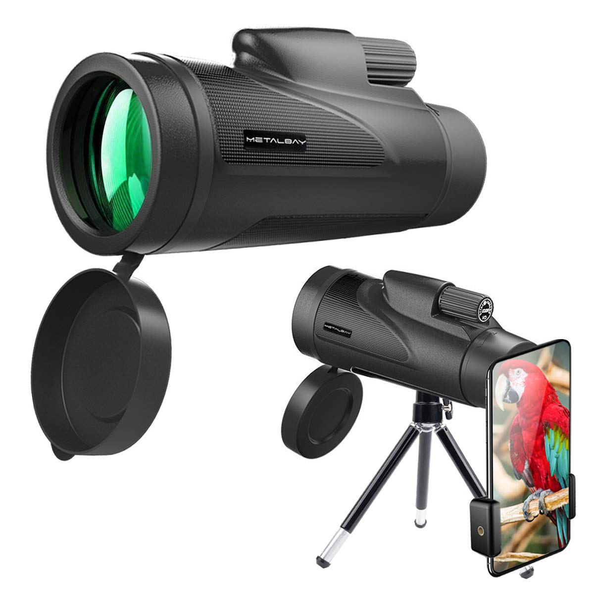 Metalbay High Power Monocular Telescope 12×50 Waterproof Monocular Scope with Tripod Smartphone Holder, HD Wide Angle BAK7 Prism Scope, Low Light Night Vision for Bird Watching Hunting Hiking Outdoor