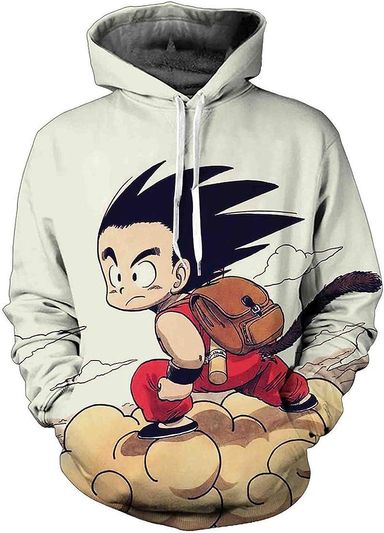 FLYCHEN Sudadera con Capucha para Hombre con 3D Digital Impreso Dragon Ball Goku Super Saiyan Azul Men's Hoodie Hip Hop