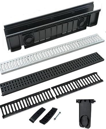 Canaleta de desagüe de ABS, color negro, con rejilla, transitable, disponible en todas las medidas: Amazon.es: Bricolaje y herramientas