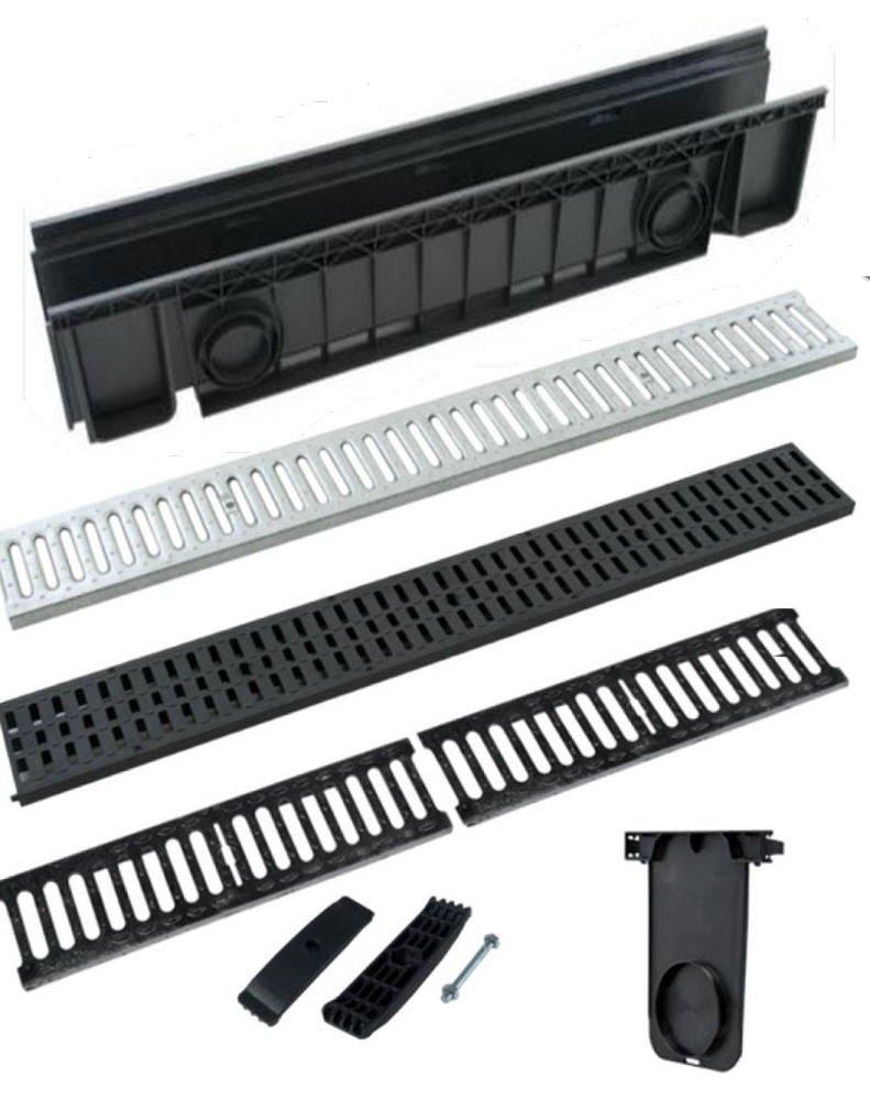 Canaleta de desagüe de ABS, color negro, con rejilla, transitable, disponible en todas las medidas UTIL.FER