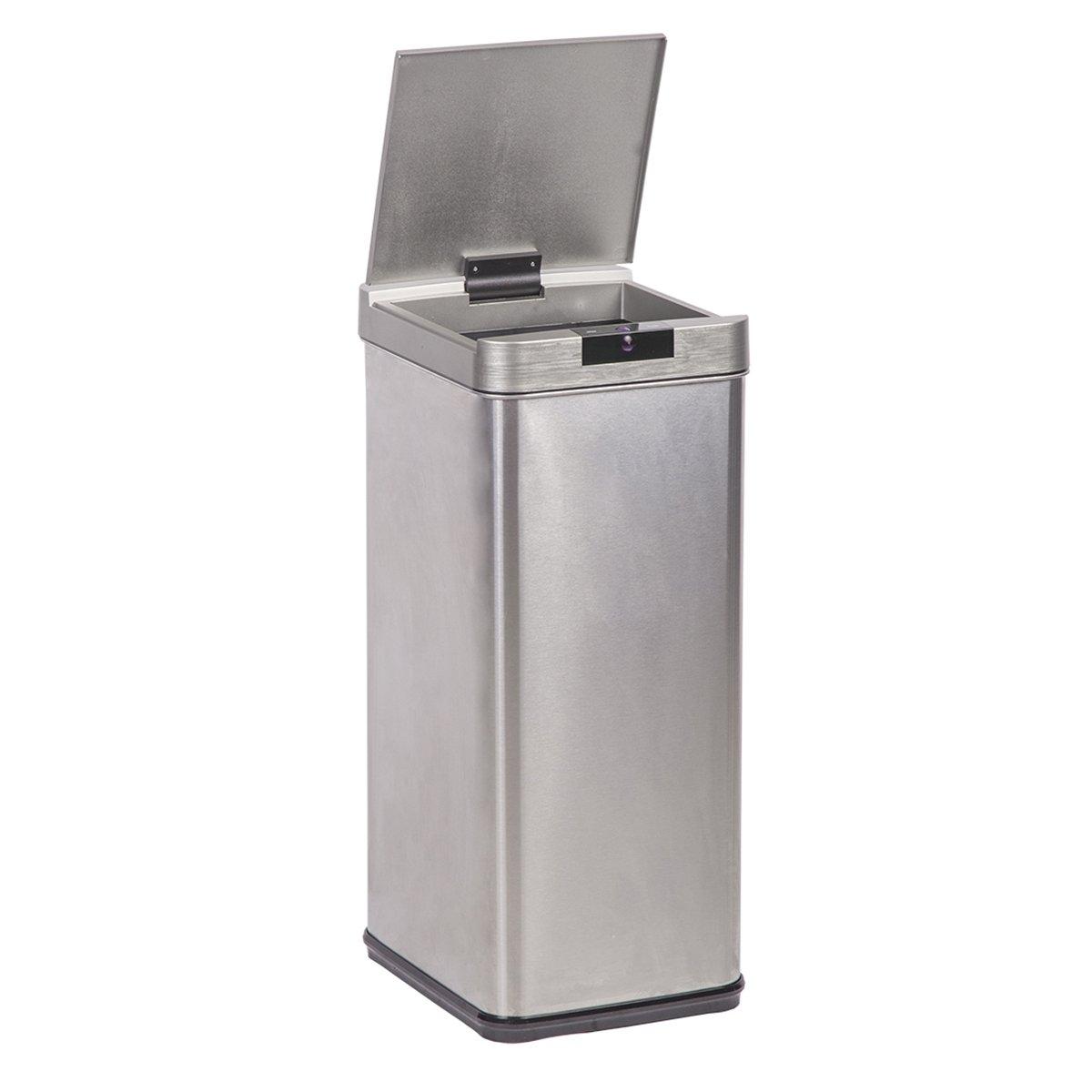 Amazon.com: 13-Gallon Trash Can, Sensor Stainless Steel Trash Bin ...