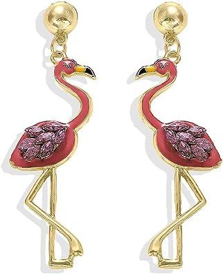 Gold Plated Pink Flamingo Drop Earrings Cute Bird Animal Earrings Jewelry for Women Girls Fashion Gifts