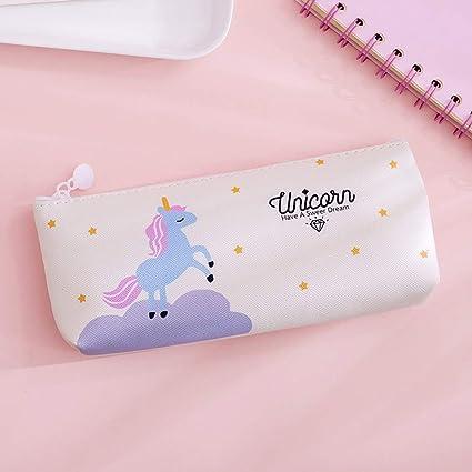 Zhongjiany - Estuche de lona con diseño de unicornio y animales de dibujos animados para la escuela, color beige: Amazon.es: Oficina y papelería