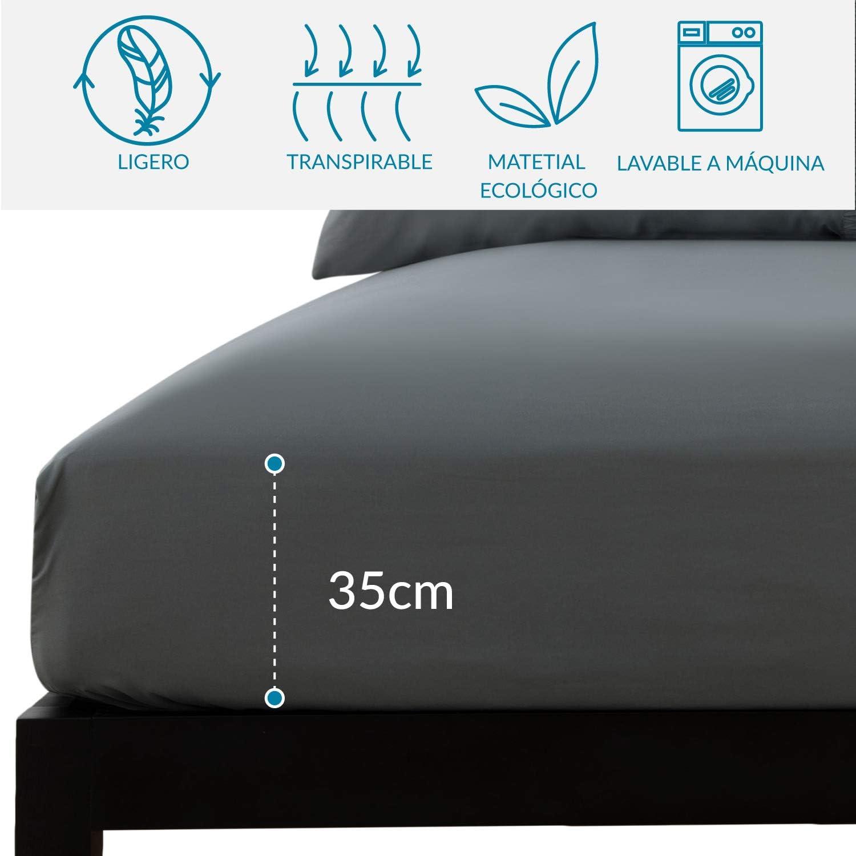 3 Piezas Bedsure Juego de S/ábanas 90x190//200 cm S/ábana Bajera Ajustable Cama 90 con Encimera 160x275cm 1 Funda de Almohada 50x80cm Azul Marino