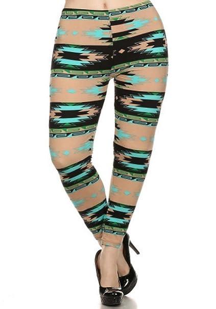 8a484e7f055 Elegant4U Women s Printed Beige Ganado Plus Size Leggings at Amazon ...