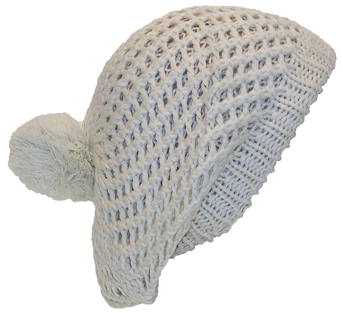 c458e6a0de6 Best Winter Hats Open Swirl Weave Knit Solid Color Winter Beret w Pom Pom ( One Size) - Off White  Amazon.in  Clothing   Accessories