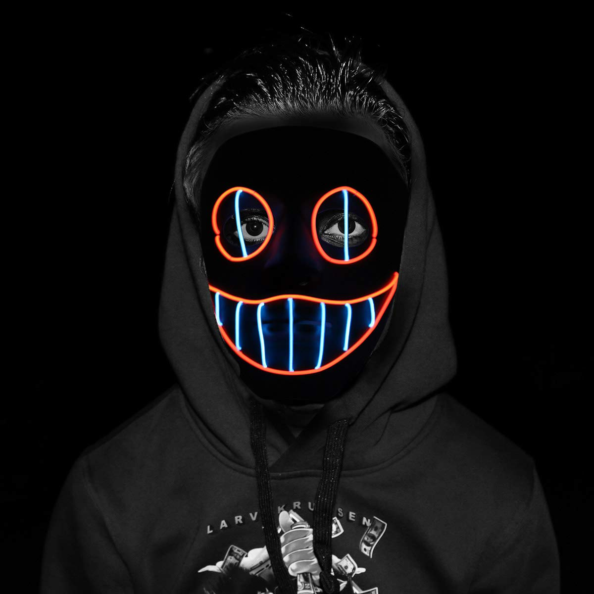 Disrerk LED Mask - Halloween Cosplay Lights up Mask for Halloween Festival Party (A) by Disrerk